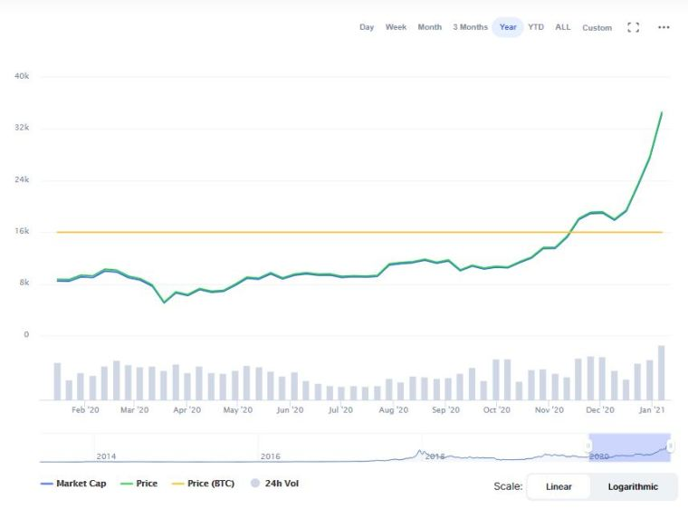 Bitcoin price chart between 2020 and begining of 2021