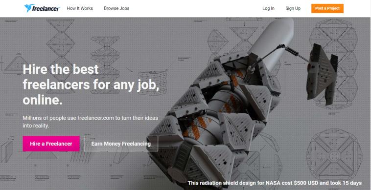freelancer.com website screenshot