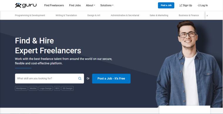 Guru website screenshot