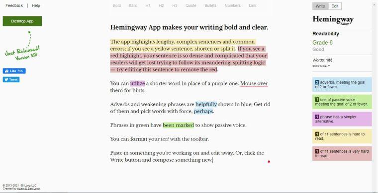 Hemingway app screenshot