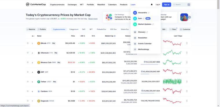 Earn crypto on CoinmarketCap