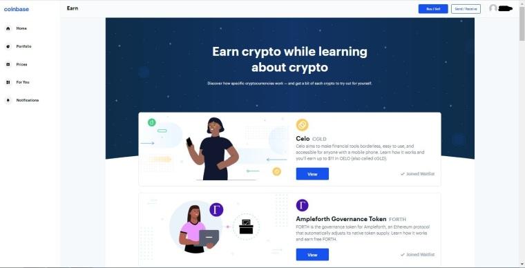 Earn crypto tokens in Coinbase