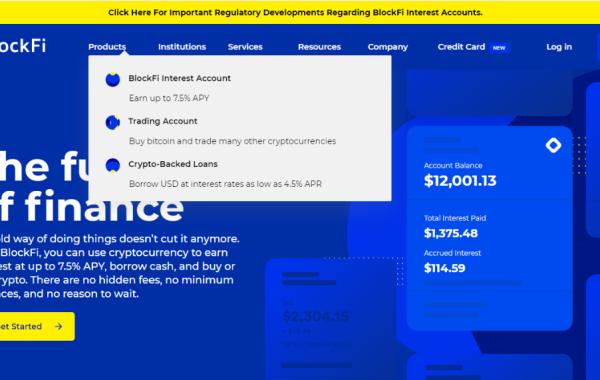 screenshot of Blockfi website
